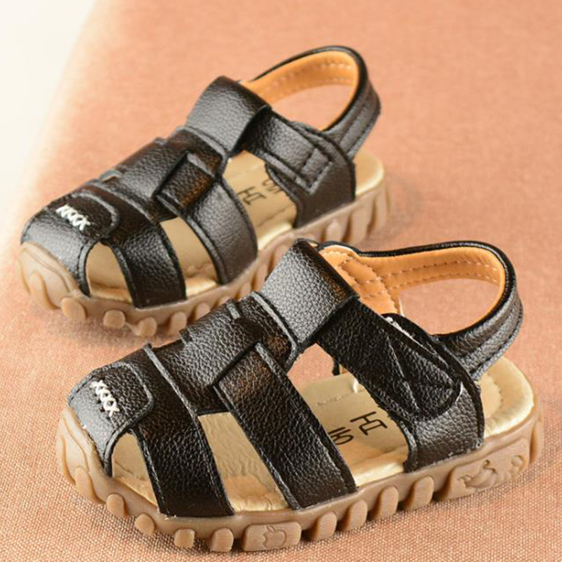 Kids Sandals Sandals Boys Sandals Fashionable Velcro Design Breathable Children's Leather Shoes Summer Wear