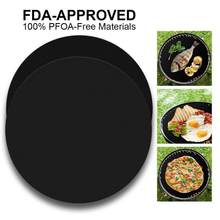 24cm Round Barbecue Mat High Temperature Resistant Non-stick Easy To Clean Reusable Barbecue Mat Outdoor Teflon BBQ Supplies(China)