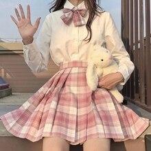JMPRS Plaid Women Pleated Skirt Bow Knot Summer High Waist Preppy Girls Dance Mini Skirt Cute A Line Harajuku Sexy Japan Faldas