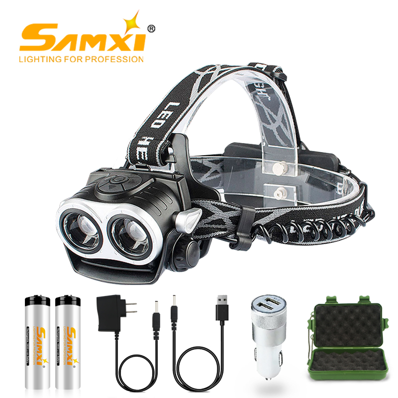 2 LED 2xT6/L2 Super Power <font><b>Headlamp</b></font> Rechargeable Headlight <font><b>Zoom</b></font> With 18650 Battery Bicycle Light <font><b>Waterproof</b></font> Head Torch Hunting image