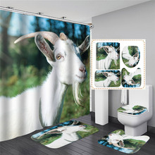 Small Sheep Horse 3D Print Shower Curtain Cartoon Animal Waterproof Polyester Bathroom Curtain for Home Decoration 3d sheer shower curtain waterproof shower curtain transparent bathing bathroom curtains for home decoration bathroom accessories
