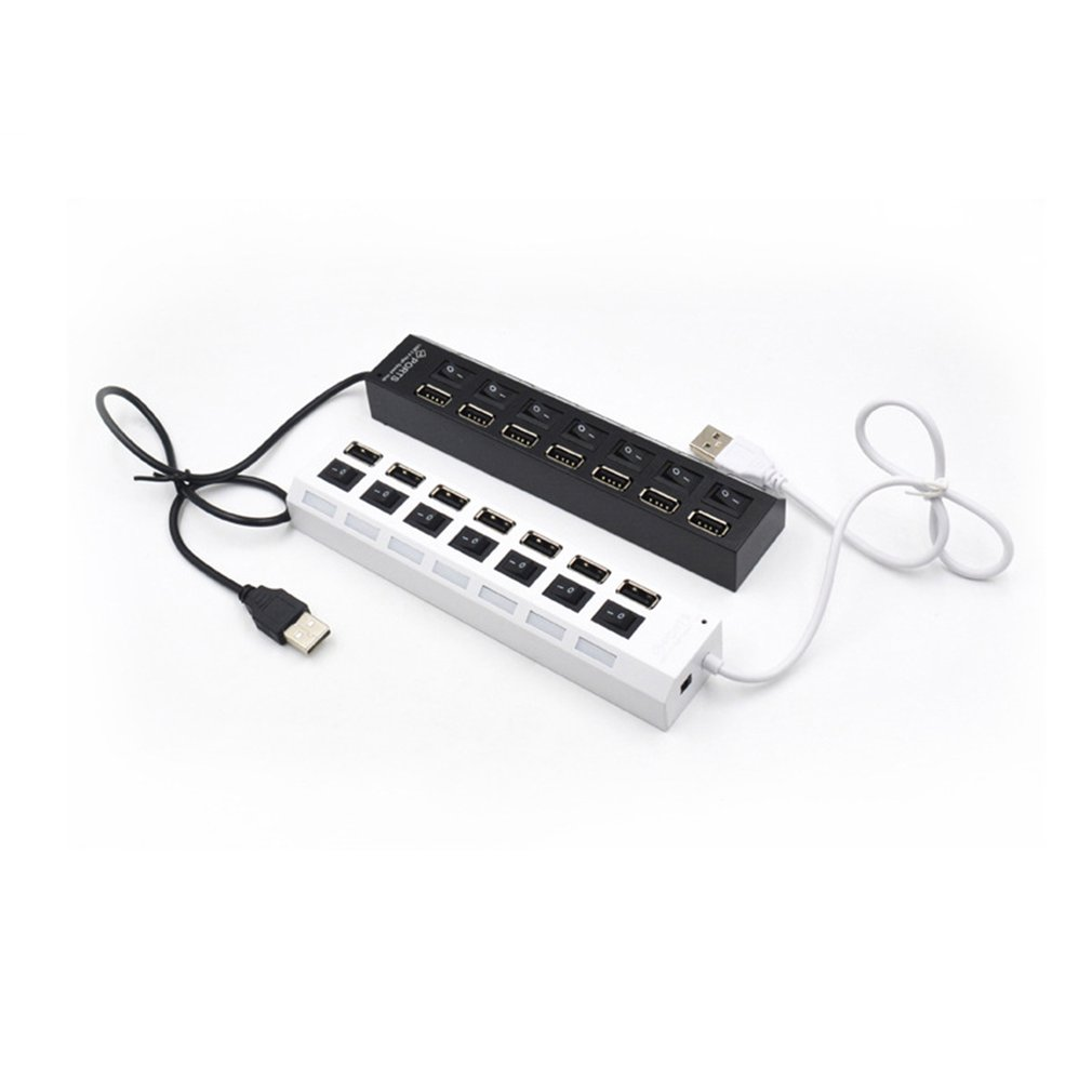 7 Port USB Hub 7 Hole With Light Switch Usb2 0 One Drag Seven Line Splitter practical in USB Hubs from Computer Office