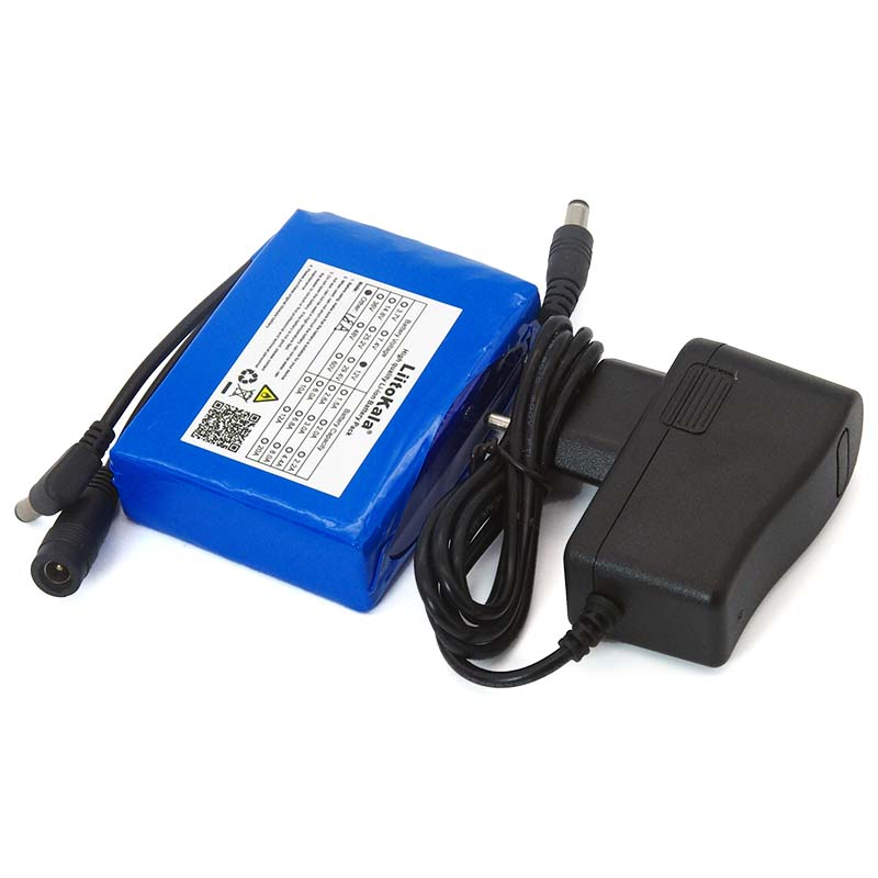 Liitokala 12.6V 18000mAh Polymer <font><b>Lithium</b></font> <font><b>Battery</b></font> <font><b>12v</b></font> <font><b>18ah</b></font> for LED CCTV Light Cam Monitor DC 5.5 * 2.1mm + 1A Charger image