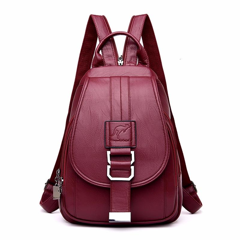 2019 Women Leather Backpacks High Quality Sac A Dos Femme Vintage Bagpack Ladies Travel Shoulder Bag Mochilas School Bags Girls