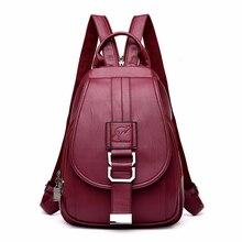 2019 frauen Leder Rucksäcke Hohe Qualität Sac A Dos Femme Vintage Bagpack Damen Reise Schulter Tasche Mochilas Schule Taschen Mädchen