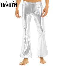 Iiniim/мужские брюки для взрослых в стиле панк для ночного клуба, блестящие металлические брюки в стиле диско с колокольчиком, расклешенные длинные штаны, костюм Человека, брюки