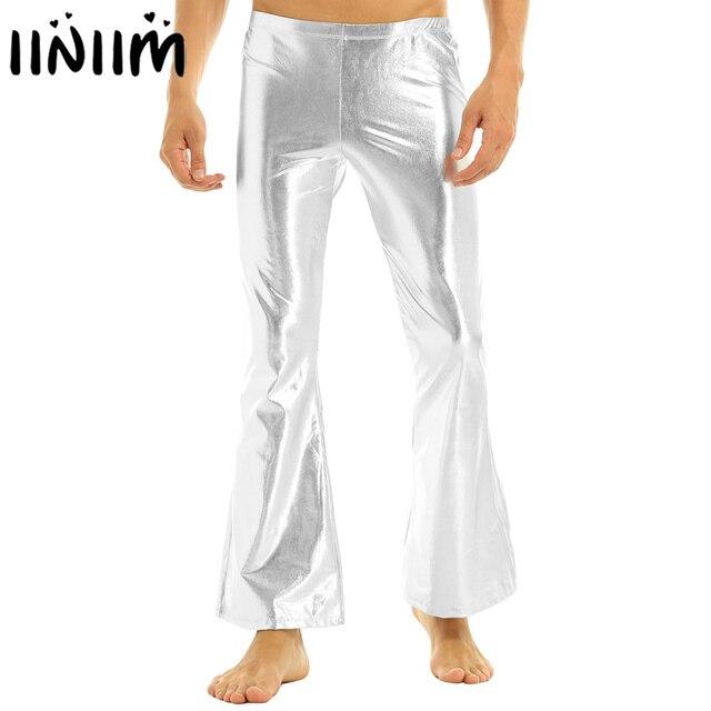 iiniim Adult Mens Punk Night Club Wear Pants Shiny Metallic Disco Pants with Bell Bottom Flared Long Pants Dude Costume Trousers 1