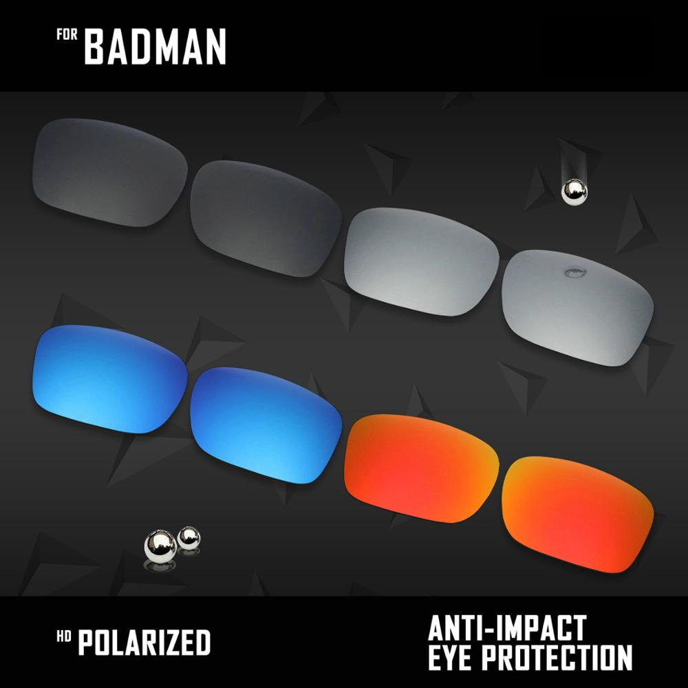 OOWLIT 4 Pairs Polarized Sunglasses Replacement Lenses for Oakley Badman OO6020-Black & Silver & Ice Blue & Fire Red