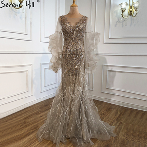 Image 4 - Gold Petal Long Sleeve Mermaid Evening Dresses 2020 Luxury Sparkl Sequins Beading Sexy Formal Dress Serene Hill LA70410