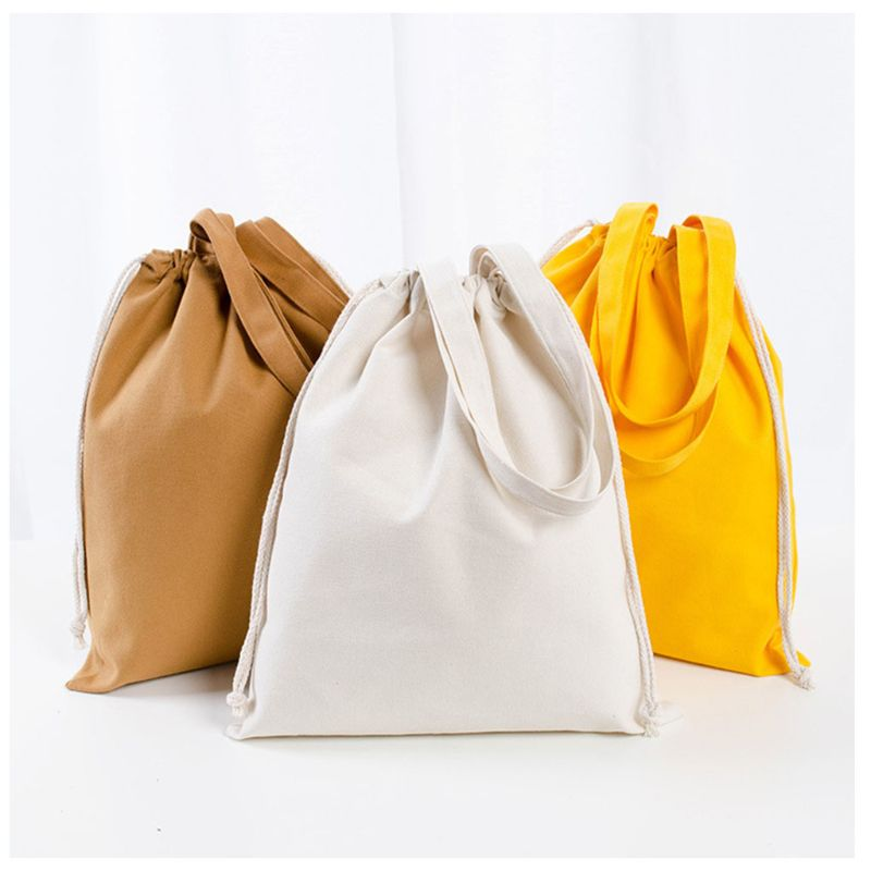 Women Canvas Casual Tote Large Capacity Shopping Handbag Tote Drawstring Shoulder Bag