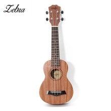 Ressort zèbre 21 pouces 15 frettes acajou Soprano ukulélé guitare sapélé palissandre 4 cordes guitare hawaïenne Instruments de musique