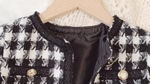 Image 5 - Mùa Xuân Và Thu 2020 Xuất Hiện Thời Trang Bé Gái Houndstooth 2 Cái Cộc + Váy Trẻ Em Tweed Bộ Quần Áo Bé Gái