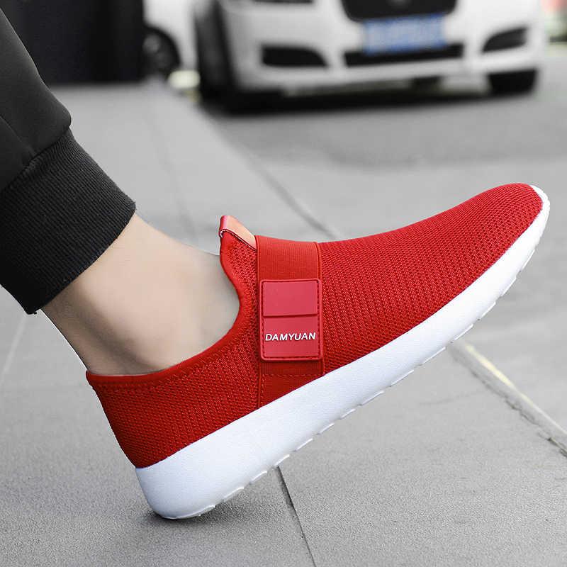 2020 gündelik erkek ayakkabısı örgü hafif nefes spor koşu ayakkabıları moda rahat yürüyüş ayakkabısı adam Flats ayakkabı