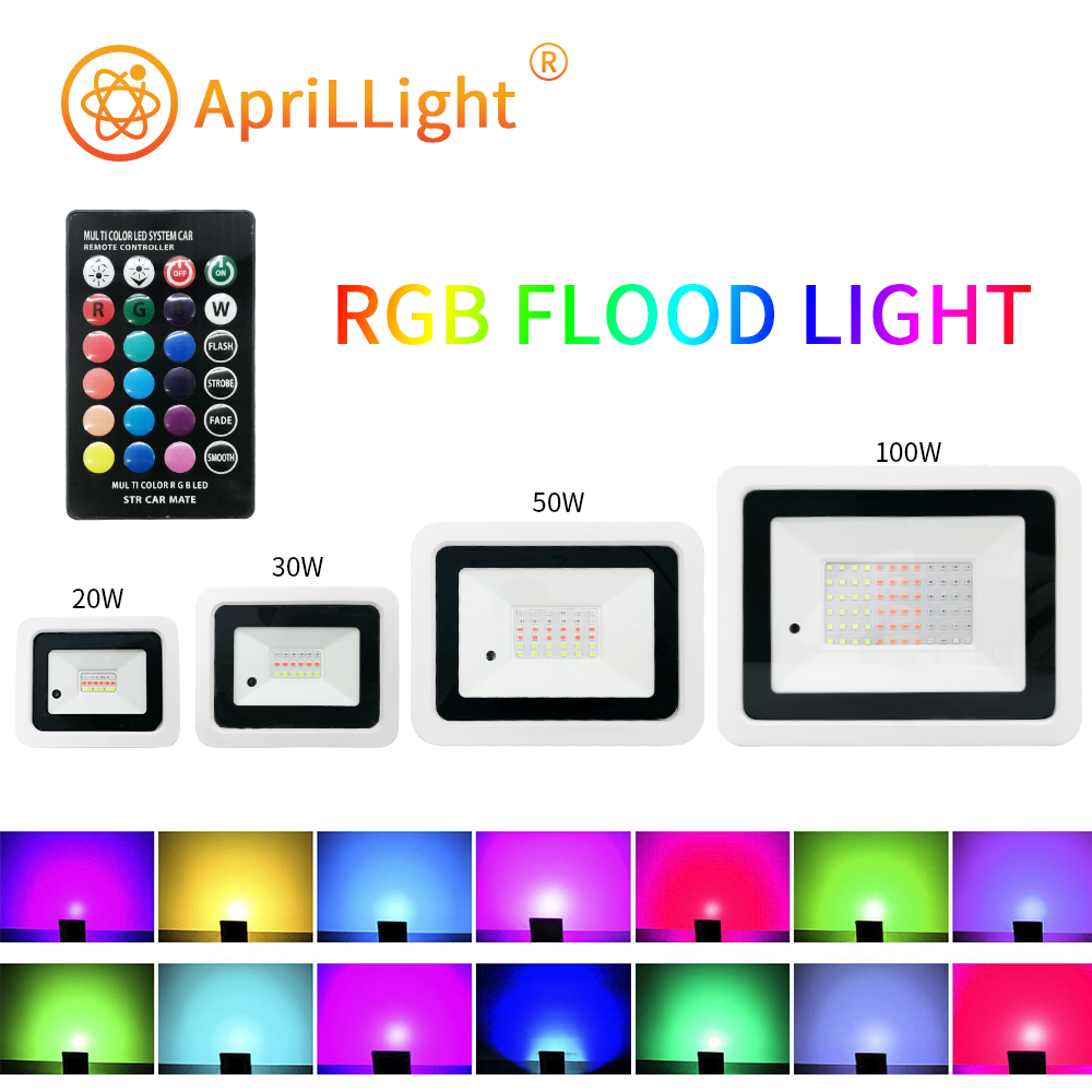 Led RGB Flood Light 20W 30W 50W 100W IP68 Outdoor Spotlight 220V 110V RGB Reflector Projector Lamp With Color Remote Controller