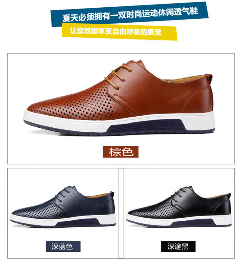 H6a1c03cbf7664b2480df61771bd63bf5E New 2019 Men Casual Shoes Leather Summer Breathable Holes Luxurious Brand Flat Shoes for Men Drop Shipping