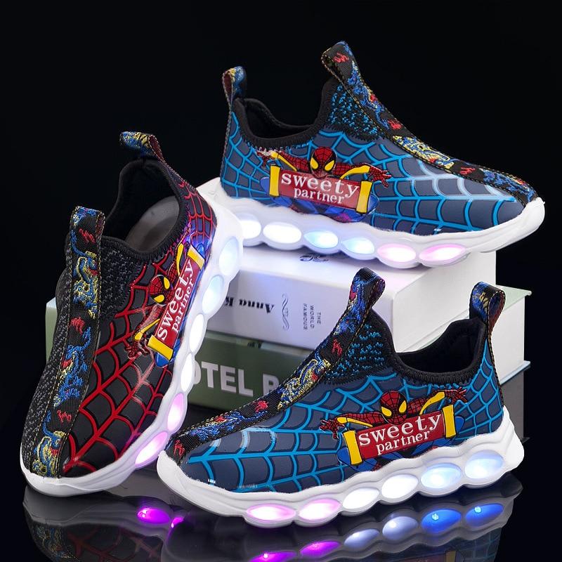 The Spider Man Kids Shoes Toddler's Leisure Casual Shoes Breathable Children's Mesh Sneaker Led Shoes Zapatos De Infantil