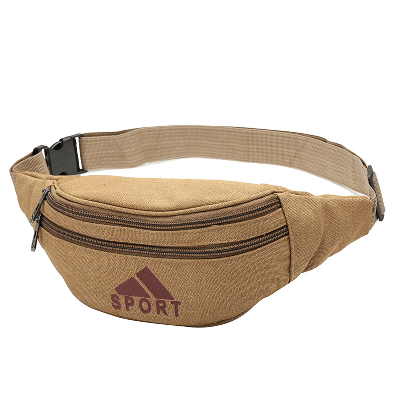Canvas Waist Pack Men Outdoor Sports Large Capacity Mobile Phone Bag Market Stall Wallet Cash Storage Bag
