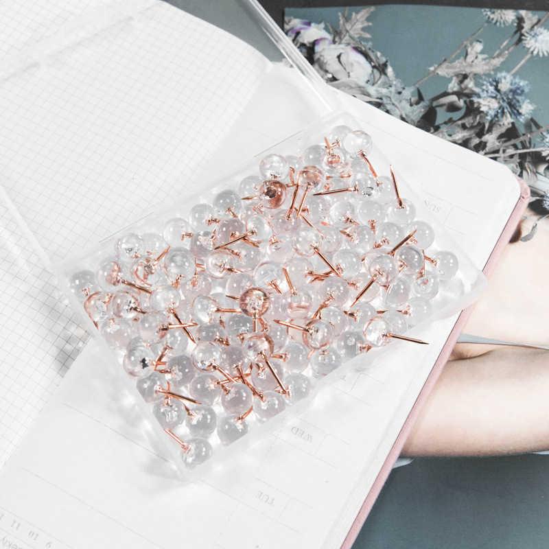 100Pcs Rosa D'oro di Spinta Spilli Puntine Da Disegno Trasparente di Plastica Rotondo Testa Mappa Chiodini per Appendere Quadri Poster Documenti Della Parete Mappe