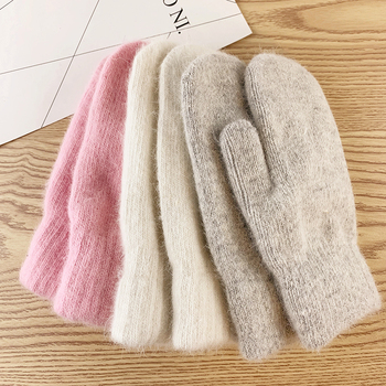Fine Double-layer rabbit hair gloves female winter Korean version of solid color all fingers winter women gloves girls mittens image