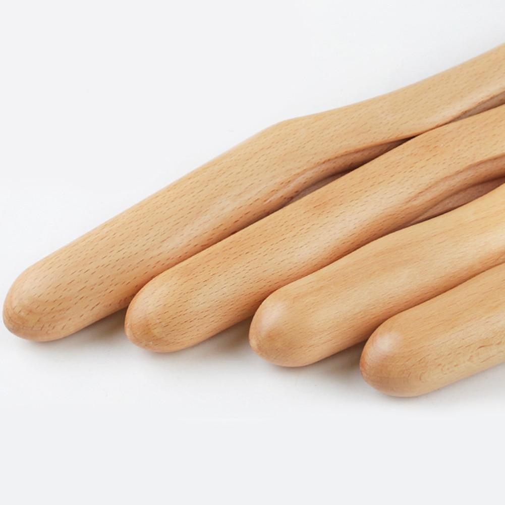 4PCS/Set Scraping Stick Bending Home Guasha Waist Groove Neck Acupressure Back Wooden Salon Massage Tool Leg Shoulder