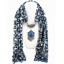 Ancient silver water drop tassel ladies jewelry scarf alloy resin pendant polyester blue and white cloth hanging fringed
