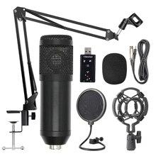 Bm800 kit microfone de suspensão profissional estúdio transmissão ao vivo gravação condensador microfone conjunto (preto)