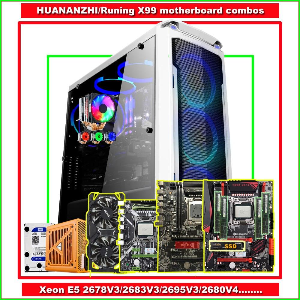 Runing X99 HUANANZHI X99 Motherboard Bundle With M.2 500G SSD CPU 2678V3/2680V3 RAM 64G(4*16G) 500W PSU GTX1060 6G Video Card