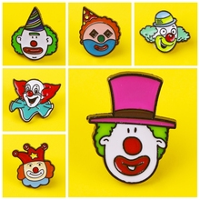 Prajna The smiling clown that brings joy Pins Badges for Clothes on Backpack Zinc Alloy Cartoon Badges Metal Fun Pin Badge prajna halloween pins badges for clothes on backpack stripe pink purple pumpkin pin badge zinc alloy cartoon badges metal