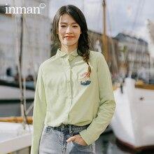 אינמן 2020 אביב חדש הגעה ספרותי טהור צבע רקום דש יחיד חזה ארוך שרוולים חולצה