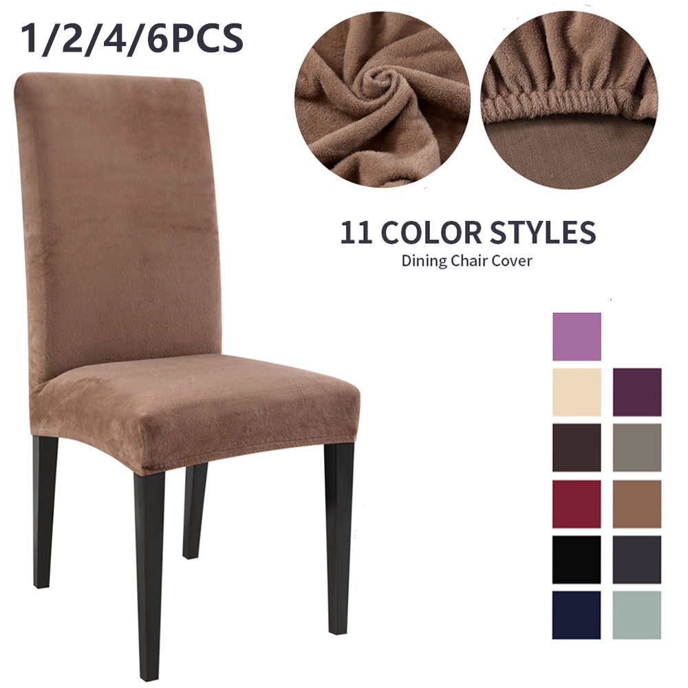 1/2/4/6PCS Removable Stretch Solid Color Chair Cover Plush Fabric Dining Room Seat Chair Covers Teddy Fleece Wedding Banquet