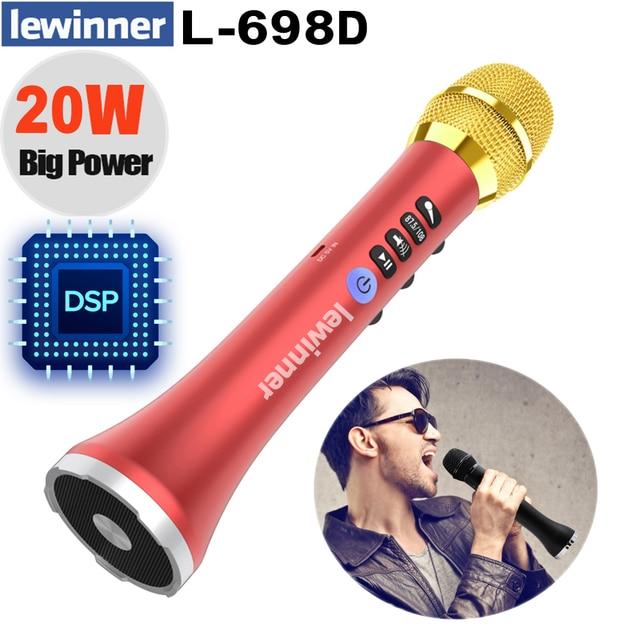 Lewinner L 698D Профессиональный Портативный беспроводной Bluetooth микрофон для караоке, 20 Вт