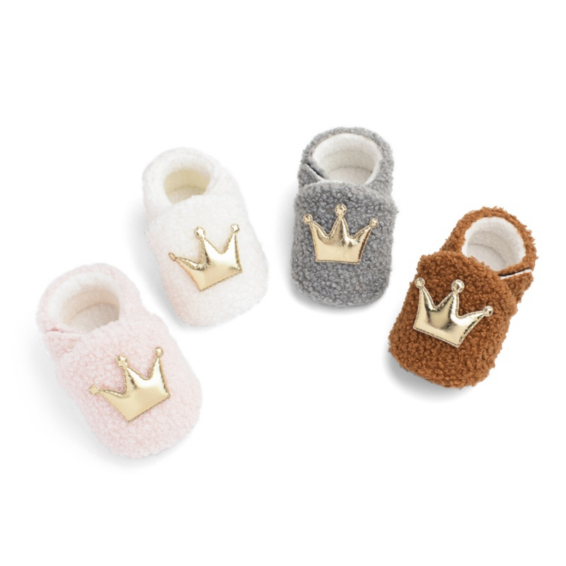 Baby Boys Girls First Walkers Anti-Slip Winter Warm Toddler Crown Baby Shoes Booties Slippers Soft Sole Crib Shoes 0-18M
