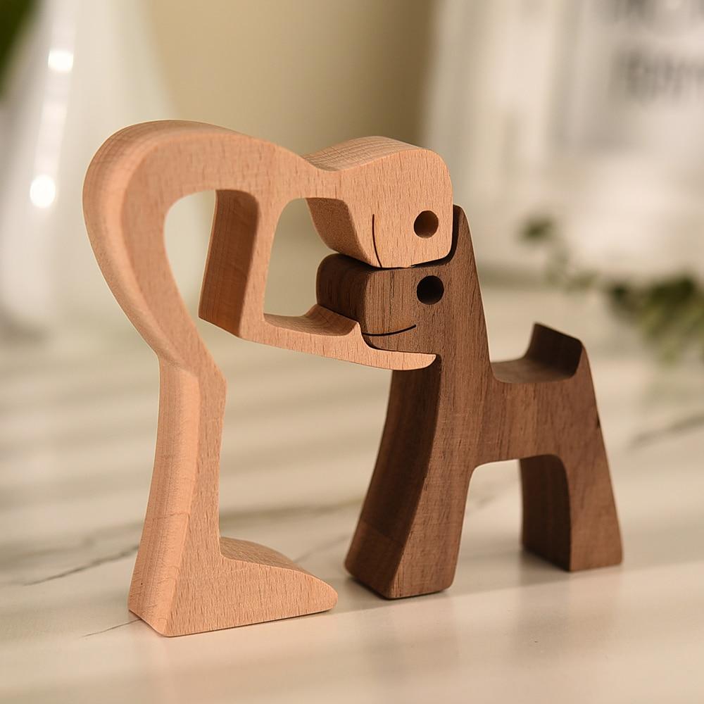 Фигурка деревянная для семейного щенка, настольное украшение для стола, резьба по дереву, креативное украшение для дома и офиса, для мужчин ...