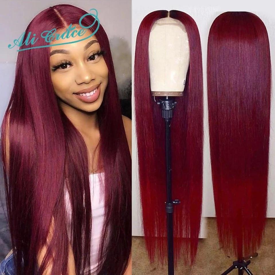 99j fechamento peruca 10a reta perucas da parte dianteira do laço para as mulheres gengibre laranja brasileira em linha reta peruca de cabelo humano ali graça bug perucas vermelhas