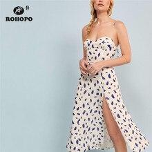 ROHOPO Narrow Striped Blue Polk Dot Side Split Pleated Knee Length White Dress Top Back Smocking Elegant Party Vestido #005