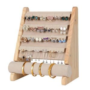 Image 3 - Wooden Jewellery Organizer Rack Hook Earrings Holder Hanger Necklace Watch Bracelet Stand Display Storage