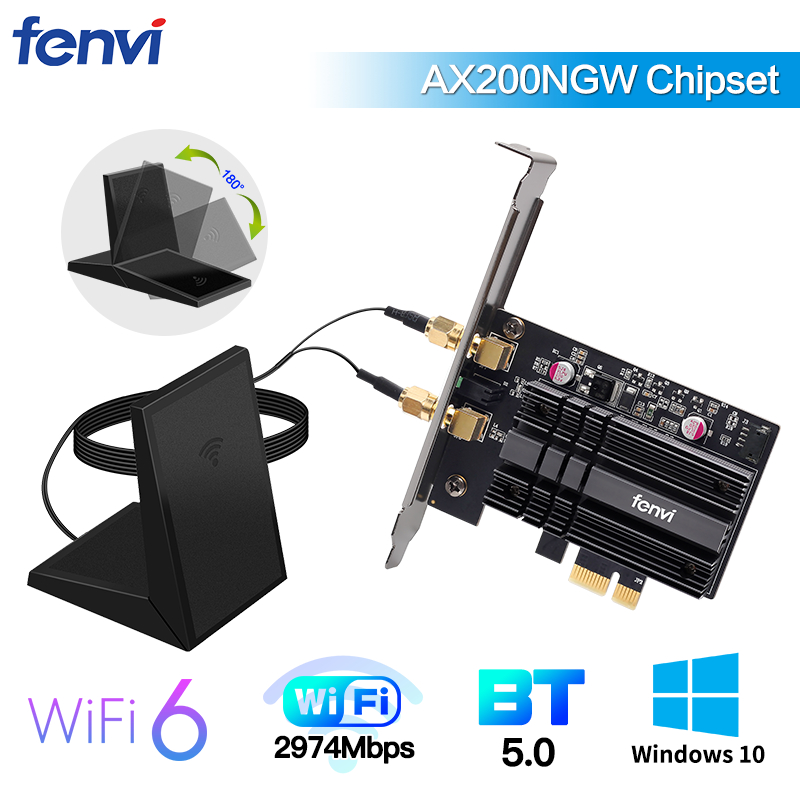 Dual Band 2400Mbps Wireless PCI-E Wi-fi Adapter WiFi 6 Intel AX200 Bluetooth 5 0 802 11ax 2 4G 5G AX200NGW Card For Desktop PC