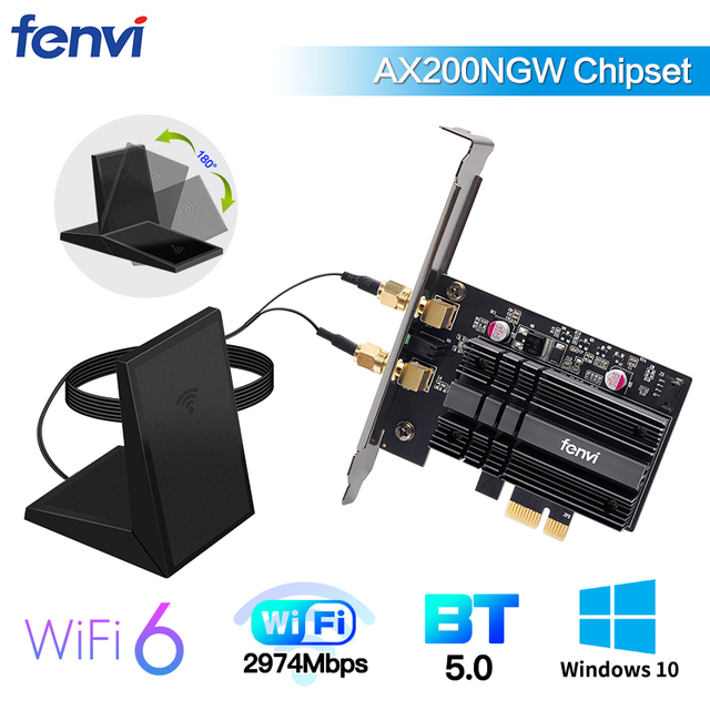 Dual Band 2400Mbps Wireless PCI E Wi fi Adapter WiFi 6 Intel AX200 Bluetooth 5.0 802.11ax 2.4G/5G AX200NGW Card For Desktop PC