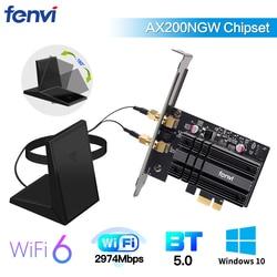 Dual Band 2400Mbps Wireless PCI-E Wifi Adapter Wi-Fi6 Intel AX200 Bluetooth 5.0 802.11ax 2.4G/5G AX200NGW Card For Desktop PC