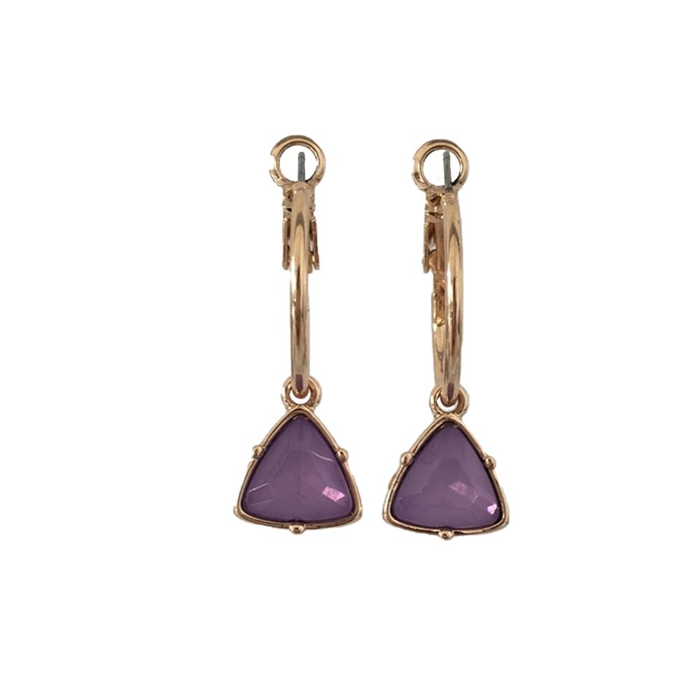 Модные женские сережки с золотым покрытием мятный камень серьги в форме треугольника серьги - Окраска металла: VIOLET