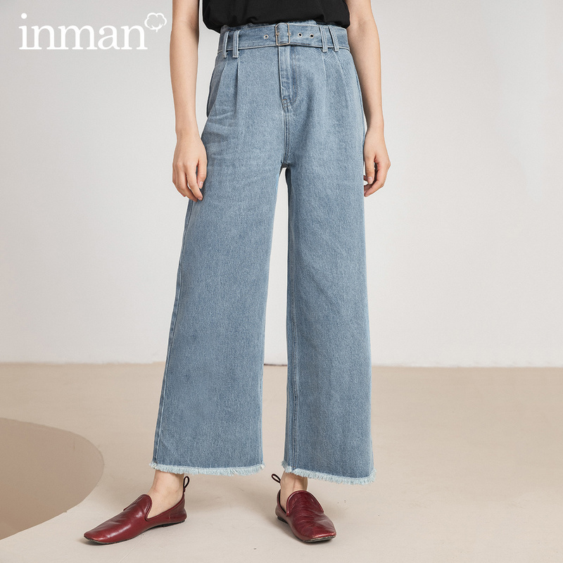 INMAN Office Style 2020 Summer New Arrival Pure Cotton Slimmed Rough Selvedge Loose Jeans