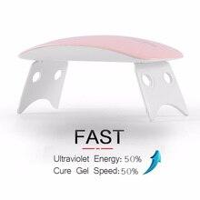 Mini Nail Led Lamp Portable UV LED 6W for Drying Gel Polish Set Micro USB Port Curing Machine Art Tools 6w