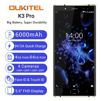 "Oukitel K3 Pro Mobile Phone MT6763 Octa Core 4GB 64GB 5.5""Dual 2.5D Screen 6000mAh 4 Cameras 13MP+2MP 9V/2A Face ID Smart"