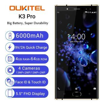 "Oukitel K3 Pro Mobile Phone MT6763 Octa Core 4GB 64GB 5.5""Dual 2.5D Screen 6000mAh 4 Cameras 13MP+2MP 9V/2A Face ID Smart"