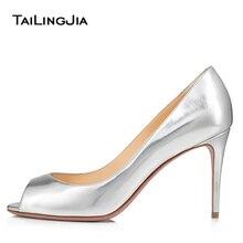 цена на Silver Peep Toe Heels Women 2020 Mid High Heel Pumps Elegant Ladies Court Shoes Slip On Large Size Footwear Bridal Wedding Shoes