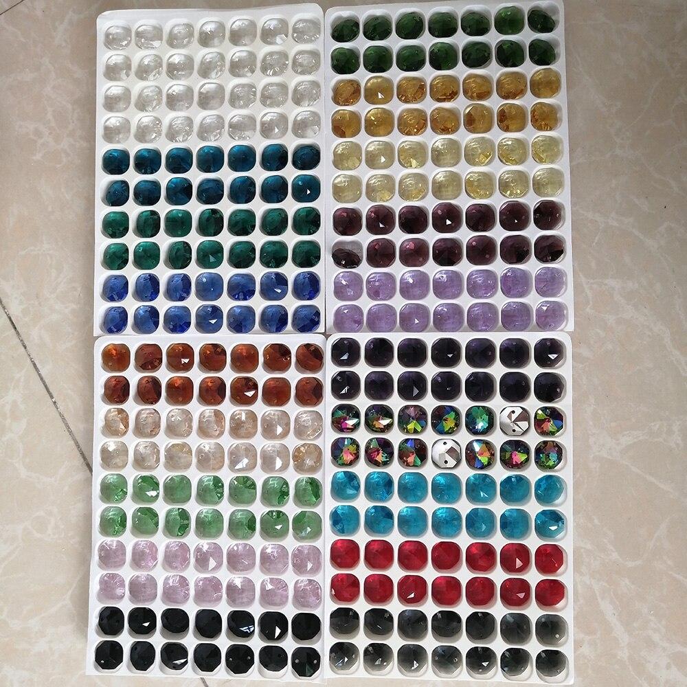 Camal 10Pcs 20 Color 14mm Crystal Octagonal Loose Beads 2 Holes Chandelier Lamp Garland Strand Parts Curtain Craft Ornamemt DIY