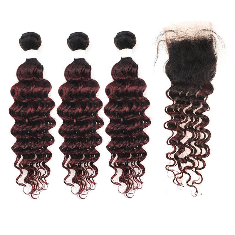 1B/99J Burgundy Deep Wave Human Hair Bundles With Closure 4*4 Brazilian Ombre Red Non-remy 3 Bundles Hair Weaving KEMY HAIR