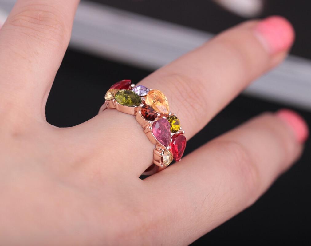 Mossovy kolorowe cyrkonia różowe złoto pierścionek zaręczynowy dla kobiet moda popularne Rhinestone obrączki dla kobiet biżuteria