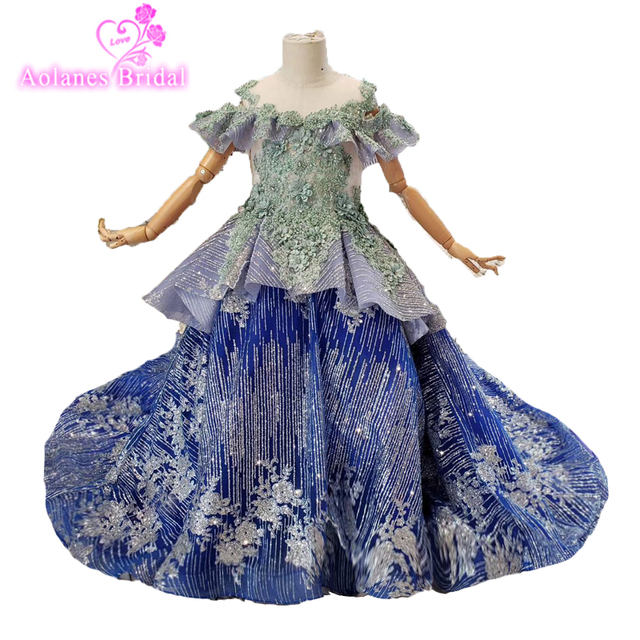 2019 Luxury Lace Beaded Flower Girl Dresses For Weddings Ball Gown Kids Evening Gowns Royal Blue Custom First Communion Dresses