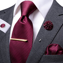 Hi-Tie Wine Red Business Solid Tie For Men 100% Silk Men's Tie Clip Gift For Men Luxury Necktie Hanky Cufflinks Set Formal Dress